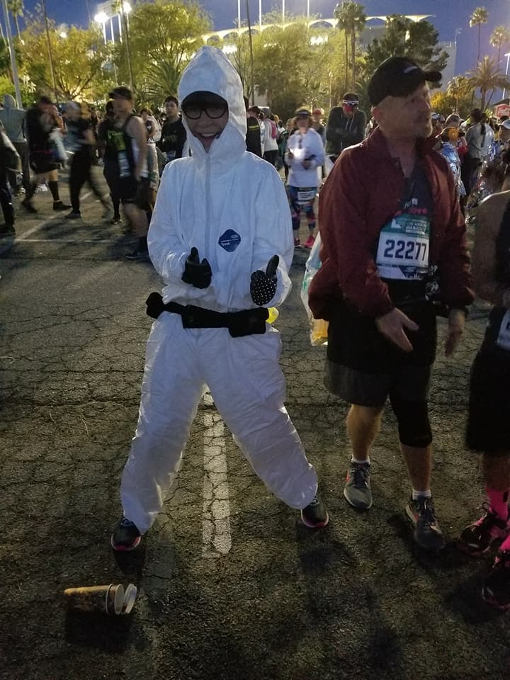 LA Marathon 2018 Jasmine in hazmat suit