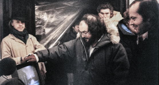 Leon Vitali on set with Kubrick